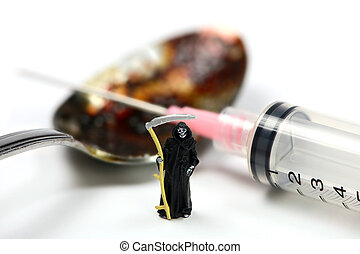 Drug addiction concept. A miniature grim reaper stands in...