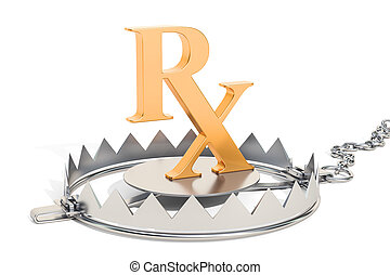 Drug addiction concept, bear trap with prescription symbol. 3D rendering