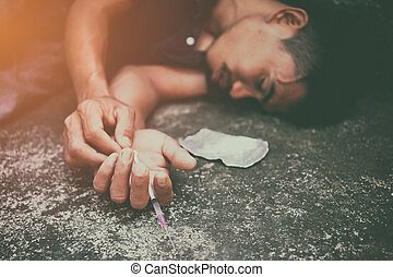 Drug addiction concept