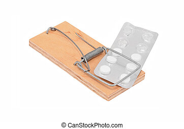 Drug addiction concept - mouse trap and tablet on white
