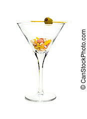 DRUG COCKTAIL - A cocktail glass with an olive, filled with...
