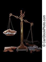 drug culture - an antique scales against a black background...