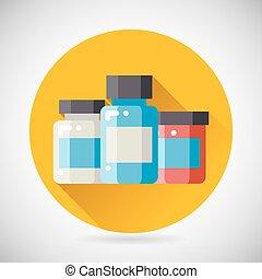 Drug Cure Medicine Box Vial Bottle Jar Icon heal treatment...