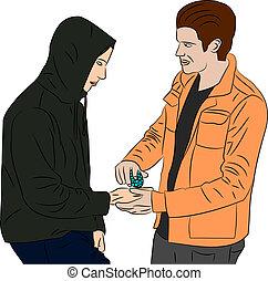 Drug Deal - Man in hoodie buying drugs from a dealer