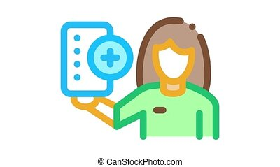 Drug Delivery Icon Animation. color Drug Delivery animated icon on white background