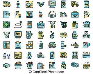 Drug delivery icons set flat