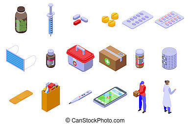 Drug delivery icons set, isometric style