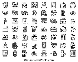 Drug delivery icons set, outline style