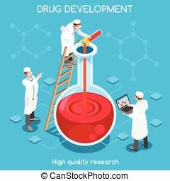 Drug Development People Isometric - Science molecule...
