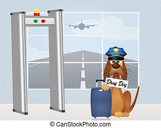 drug dog - illustration of drug dog
