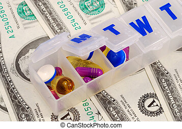 Drug holders on some dollar bills concepts of rising medical cost