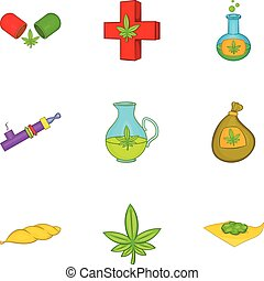Drug icons set, cartoon style