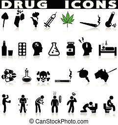 Drug icons set.