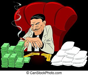 Drug lord in chair - Vector illustration of a drug lord in...