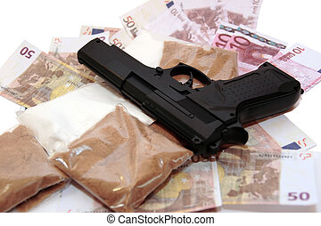 drug money 12 - a stash of drugs gun and money showing a...
