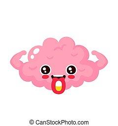 Drug pill on brain tongue. Vector modern flat style cartoon...