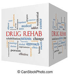 Drug Rehab 3D cube Word Cloud Concept with great terms such...