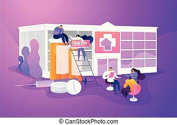 Drug rehab center concept vector illustration - Addiction...