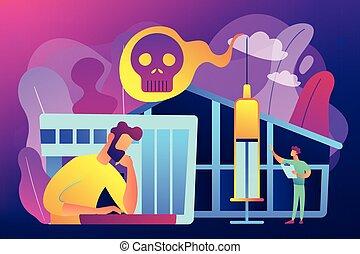 Drug rehab center concept vector illustration. - Patient...