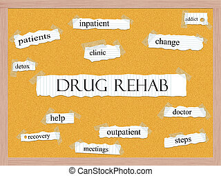 Drug Rehab Corkboard Word Concept with great terms such as...