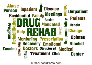 Drug Rehab word cloud with White Background