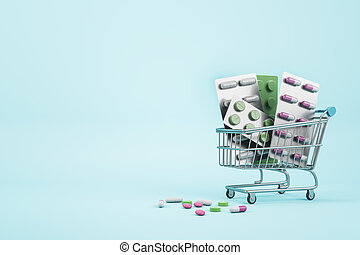 Drug store and online pharmacy concept with shopping cart and assorted medicine pills on blank blue background. Mock up