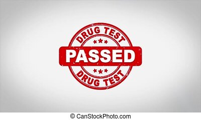 DRUG TEST Passed Signed Stamping Text Wooden Stamp Animation...