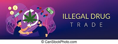 Drug trafficking concept banner header. - Drug dealer ...