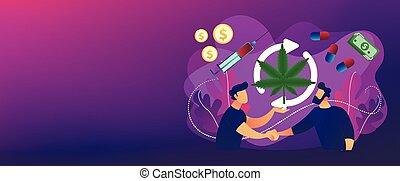 Drug trafficking concept banner header. - Drug dealer...