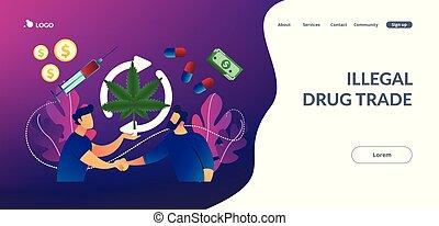 Drug trafficking concept landing page. - Drug dealer...