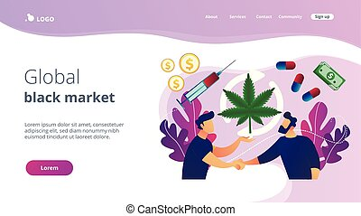Drug trafficking concept landing page. - Drug dealer ...