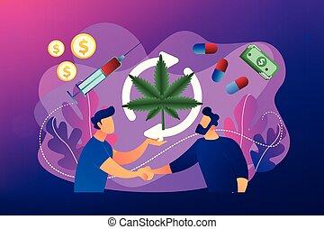 Drug trafficking concept vector illustration. - Drug dealer...