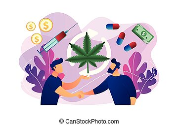Drug trafficking concept vector illustration. - Drug dealer ...