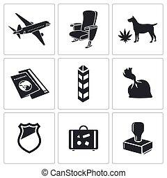Drug trafficking icon set - drug trafficking by air icon...