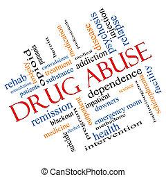 druggebruik, woord, wolk, concept, hoekig