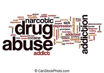 druggebruik, woord, wolk