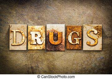 drugs, концепция, типографской, кожа, тема