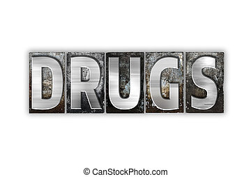 drugs, концепция, isolated, металл, типографской, тип