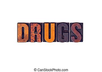 drugs, концепция, isolated, типографской, тип