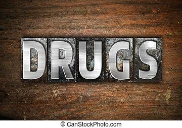 drugs, металл, концепция, тип, типографской