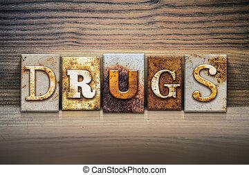drugs, тема, концепция, типографской