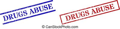 DRUGS ABUSE Grunge Scratched Stamp Watermarks with Rectangle Frame