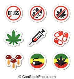 Drugs, addiction, marijuana, syring - Vector labels set -...