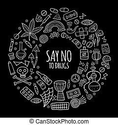 Drugs addiction. Say no to drugs. Rasta collection with skull, marijuana, drum, pills, music symbols. Vector illustration