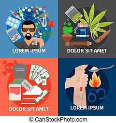 Drugs addiction vector concept.