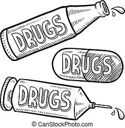 Drugs and alcohol sketch - Doodle style bottle, syringe and...