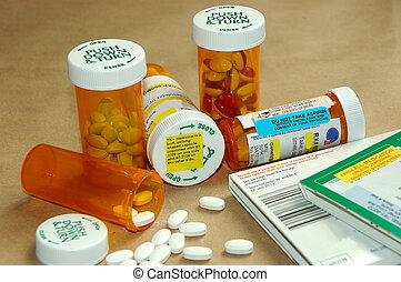 Drugs and Warnings - Prescription drug bottles, instructions...