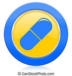 drugs blue yellow icon medical sign