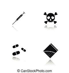 Drugs drop shadow black icons set
