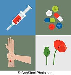 Drugs flat icons set